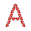 Letter A made of hearts