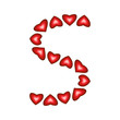 Letter S made of hearts