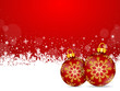 Red background with snowflakes and christmas ball (II)