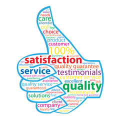 QUALITY- SERVICE-SATISFACTION Tag Cloud (customer thumbs up)