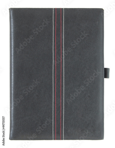 Black leather book isolated on white with clipping path