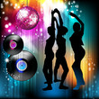Disco globe and dancing silhouettes