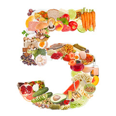 Number 5 made of food