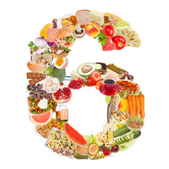 Number 6 made of food