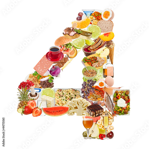 Number 4 made of food