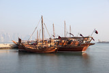 Traditional arabic dhows in Doha, Qatar, Middle East poster