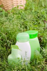 herbal cosmetics on grass