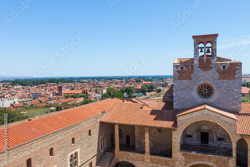 City panorama of Perpignan buildings