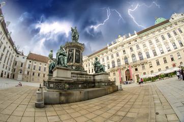 Kaiser Franz I statue in Hofburg - Vienna, Fisheye view