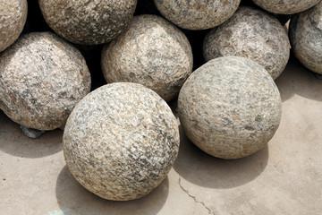 Canon balls made of granite rock