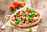 Fototapety Homemade vegetarian Italian pizza