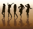 Silhouettes of females on abstract background