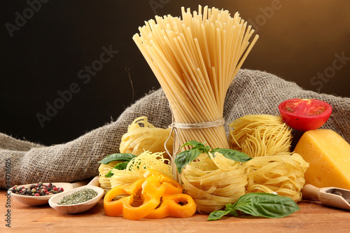Pasta spaghetti, vegetables and spices,