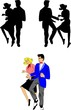 teens dancing in retro style with silhouettes