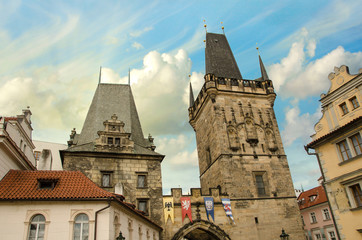 View of the Lesser Bridge Tower of Charles Bridge in Prague (Kar