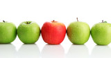 Ripe green apples and one red apple isolated on white - 44720095