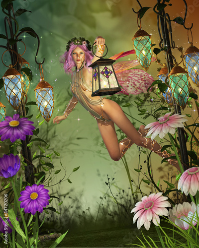 a flying fairy with a lantern