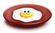Whimsical Cartoon Fried Egg on Plate