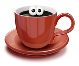 Whimsical Cartoon Coffee Cup