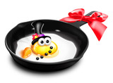 Whimsical Melted Cartoon Egg Snowman in Frying Pan