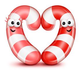 Whimsical Cartoon Candy Cane Heart