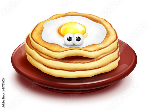 Whimsical Cartoon Pancake Stack with Fried Egg