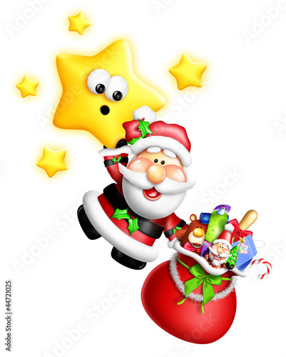 Whimsical Cartoon Santa Hanging From Cute Star