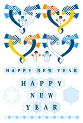 2013年巳年年賀状用イラスト素材(雪とHAPPYNEWYEAR)色々セット