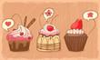 three lovely muffins on orange shabby backdrop
