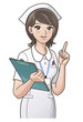 young nurse pointing the index finger up