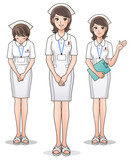 Set of young cute nurse welcoming patients, guiding information