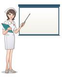 Beautiful smiling nurse pointing to a blank screen