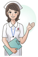 Young pretty nurse providing information, guidance