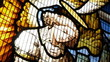 Stained glass window showing Jesus and an angel.