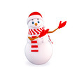 snow man pointing towards blank background