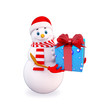 snow man carrying gift box