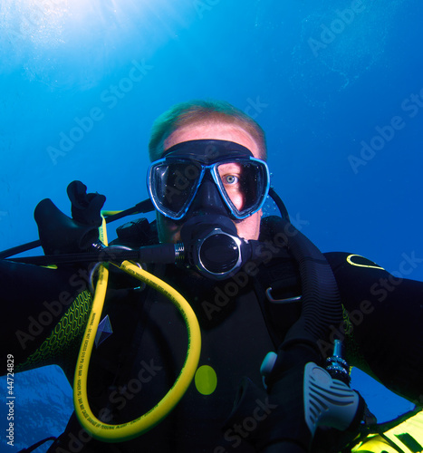 Diver, showing straight at camera