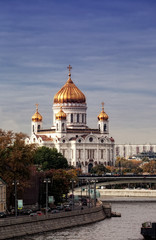 View of Cathedral of Christ Savior in Moscow in the autumn
