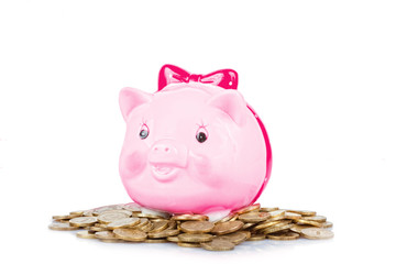 Pink the pig-coin box to stand on a heap of coins