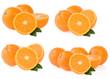 orange fruit and slices isolated on white