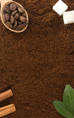 coffee powder and beans as background