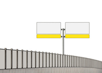 Blank traffic sign and noise barrier fence on white background