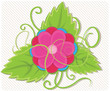 Flower with leaf vector illustration