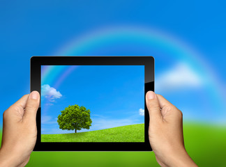 capture the nature landscape with tablet computer