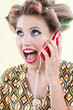 Surprised Woman Using Telephone