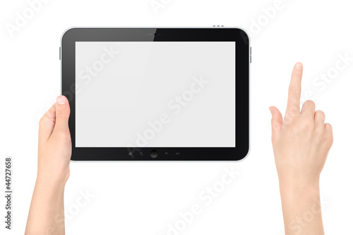 Holding Digital Tablet With Touching Hand Isolated