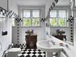bagno moderno in bianco e nero