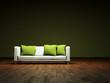 Sofa mit grünen Kissen