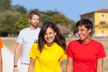 Group of Friends Walking Outside