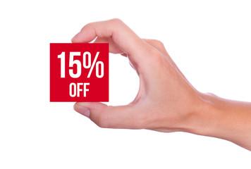 15 Percent off symbol handheld isolated on white background